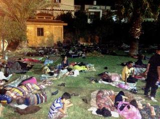 Sleeping outside in Church courtyard...