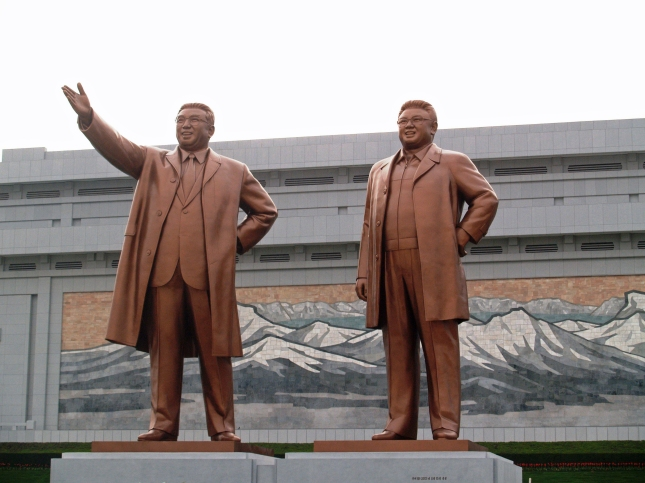 Statue of Kim Il-Sung (left) and Kim Jong-Il in Pyongyang.