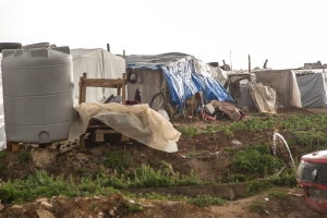 Refugee tent in Bekaa Valley Lebanon