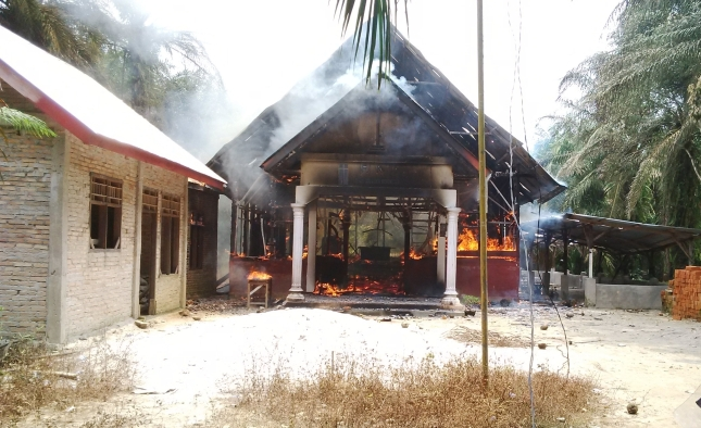 A church set on fire by Islamic Extremists in Aceh, Indonesia.