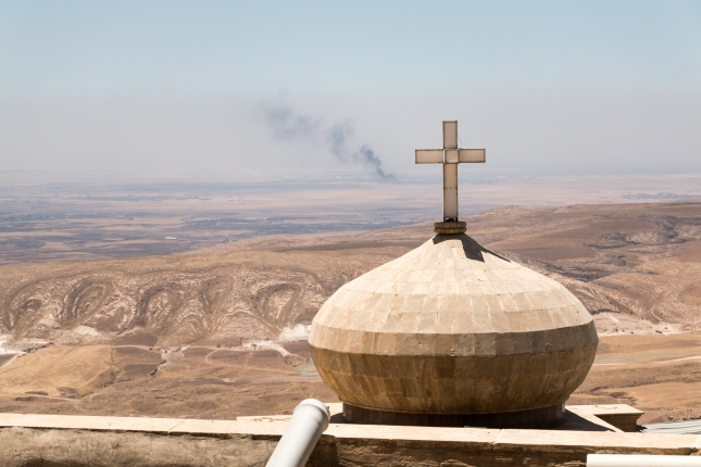 A monastery on a hill in Iraq, overlooking Mosul. The smoke rising in the distance is from Mosul.