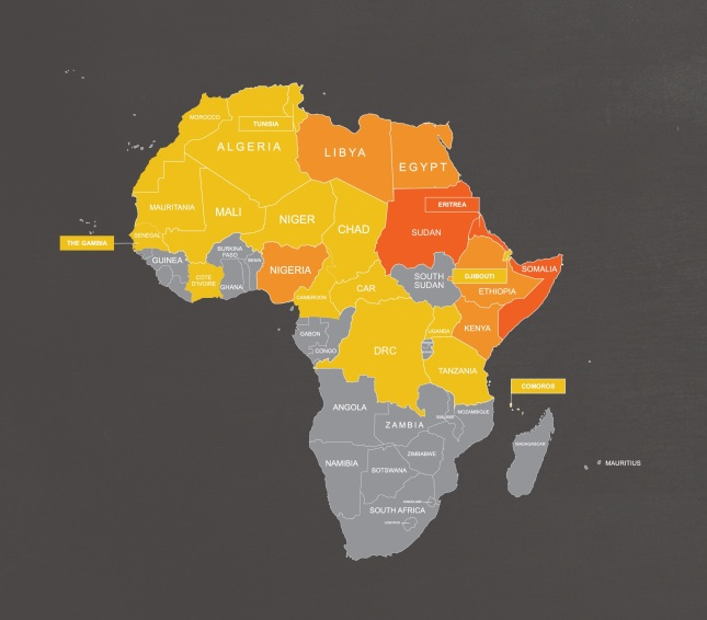 World Watch List Map of Africa - showing countries where Christians are persecuted. View the full map here.