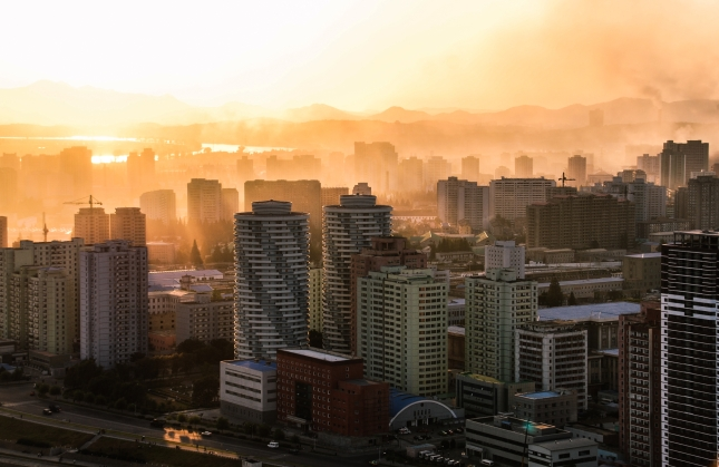 Sunset in the capital, Pyongyang.