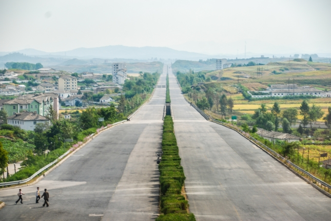 Wide, open and empty road in the southern North Korea.