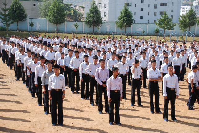 Students at morning exercise.