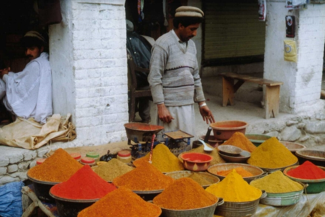 Spices in the marketplace. Date: 2000