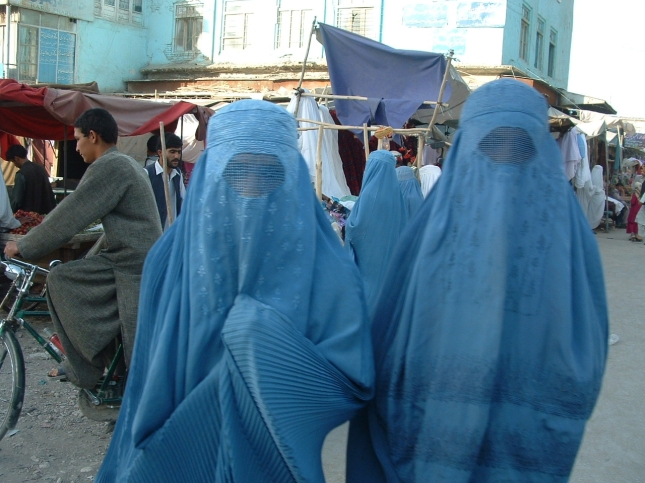 Blue is a common colour for women's Burqas. Date: 2004