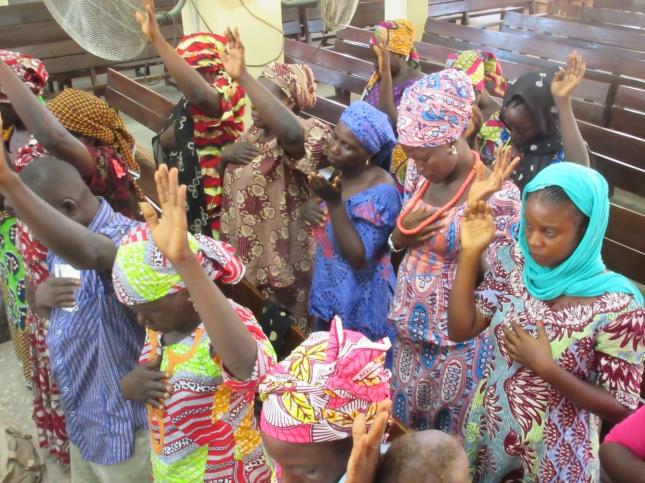 Parents of missing Chibok schoolgirls in prayer.