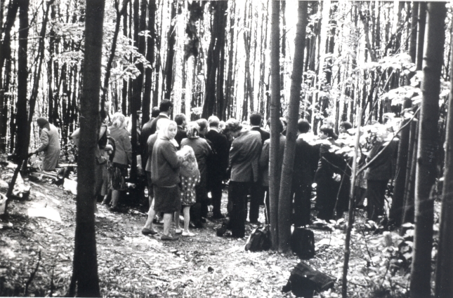 An illegal gathering of Christians in 1979.