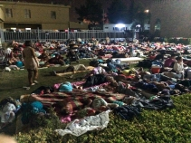 Displaced Iraqi Christians sleeping in the yard of a church in Erbil, northern Iraq.